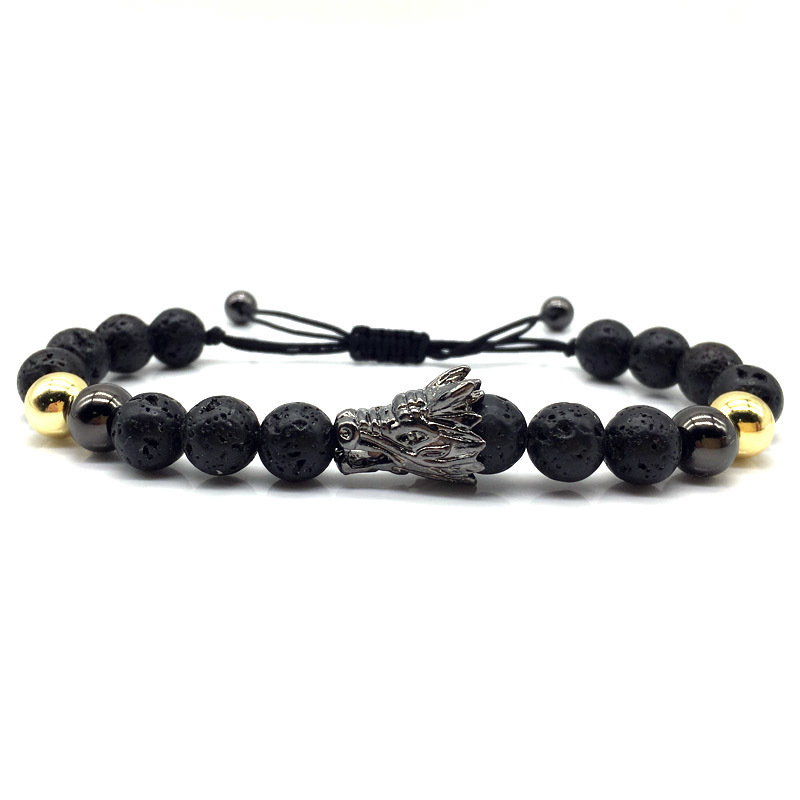 Handmade Mysterious Dragon Stone Bead Bracelet