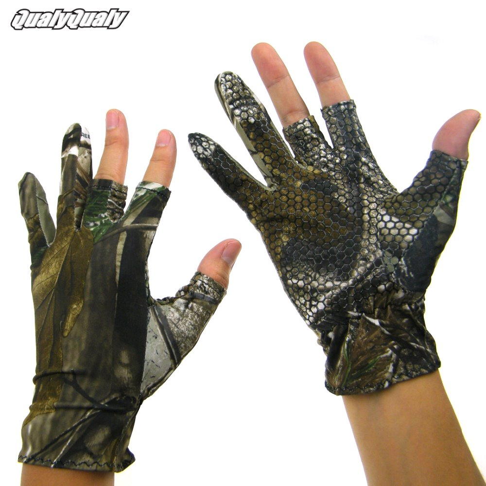1 Pair Summer 3 Cut Half Finger Glove Anti Slip Fishing Gloves Camouflage Camo Elastic Outdoor Hunting Fishing Gloves For Men