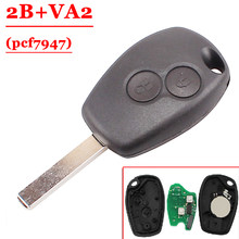 Free shipping (5 pcs /Lot) 2 Button PCF7947 Chip Remote Control With Va2 Blade For Renault Duster Modus Clio 3 433MHz(China)