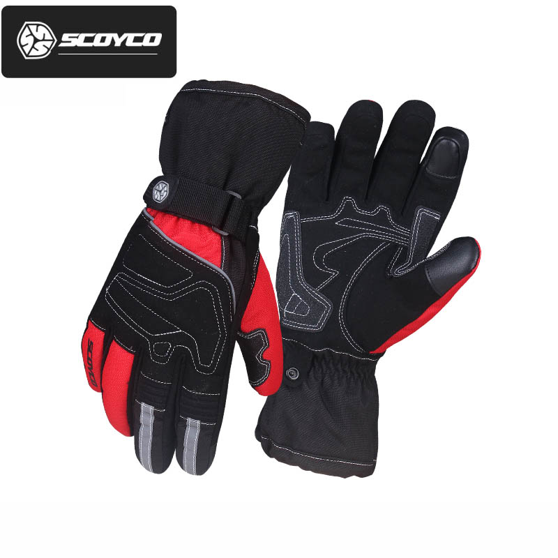 warm waterproof SCOYCO MC30 Oxford cloth motorcycle gloves ,touch phones MOTO motorbik scooter Full finger gloves