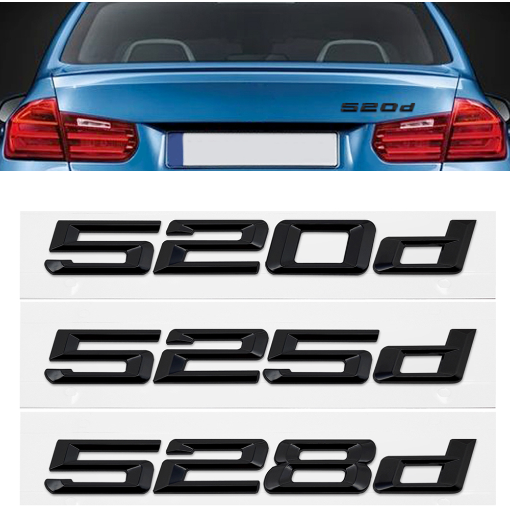 Black 3D Trunk Lid Badge for BMW 5 Series <font><b>520d</b></font> 525d 528d X5 E36 E46 F20 <font><b>F10</b></font> Letter Number Sticker Car Styling Auto Emblem Decal image