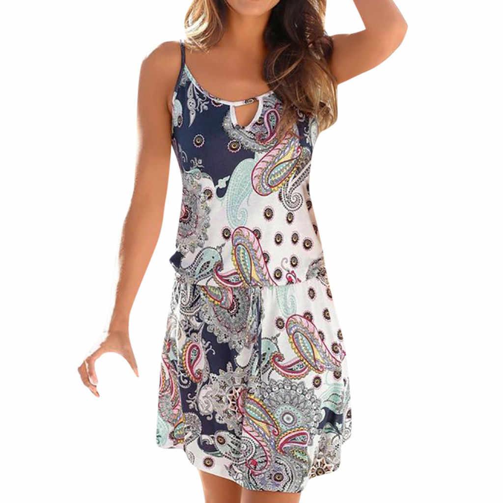 Vestidos de verano Mini elbise Boho tarzı çiçek baskı plaj elbise tunik Sundress gevşek Mini parti elbise Vestidos artı boyutu w0619