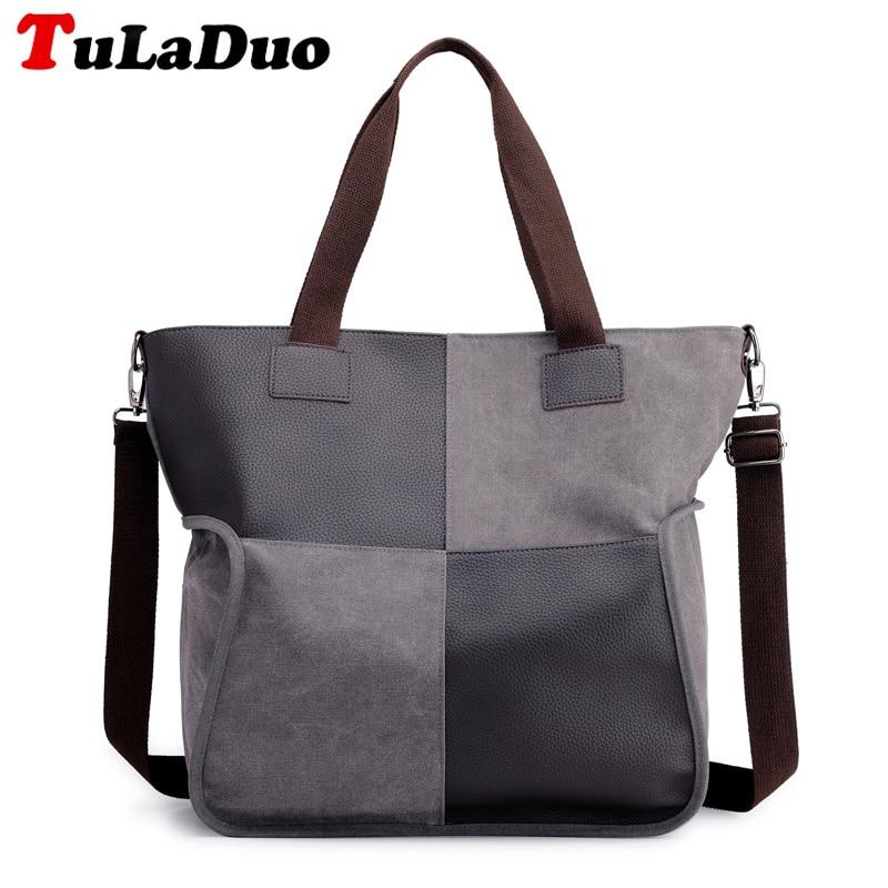 Patchwork Large Women Canvas Handbag Designer Tote Bags High Quality fashion Canvas Ladies Shoulder bags Big Bolsos Mujer