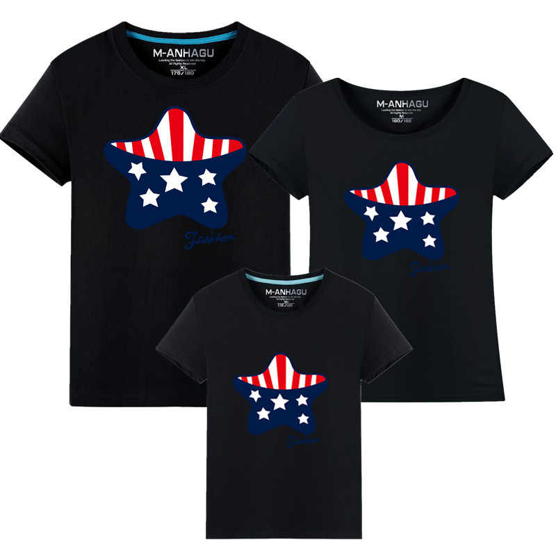 Familie Passenden Kleidung 2017 Sommer stil kurzhülse Sterne T-shirt Für Mutter Tochter Vater Sohn Kleidung Familie Aussehen kleiden