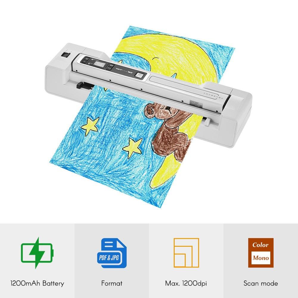 Portable Baguette Scanner et Alimentation Automatique Dock Base Document A4 Photo Scanner 1200 DPI Couleur/Mono pour banque bureau l'école papier fichier