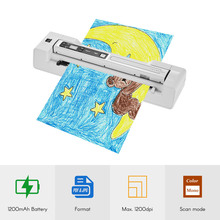 Portable Wand Scanner & Auto Feed Dock Base A4 Document Photo Scanner 1200DPI Color/Mono for bank office school paper file