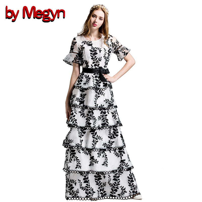 Par Megyn 2017 Summer Fashion Runway Robe de Femmes Élégant Flare Manches Floral Broderie Ruches Maxi Longue Robe LD607
