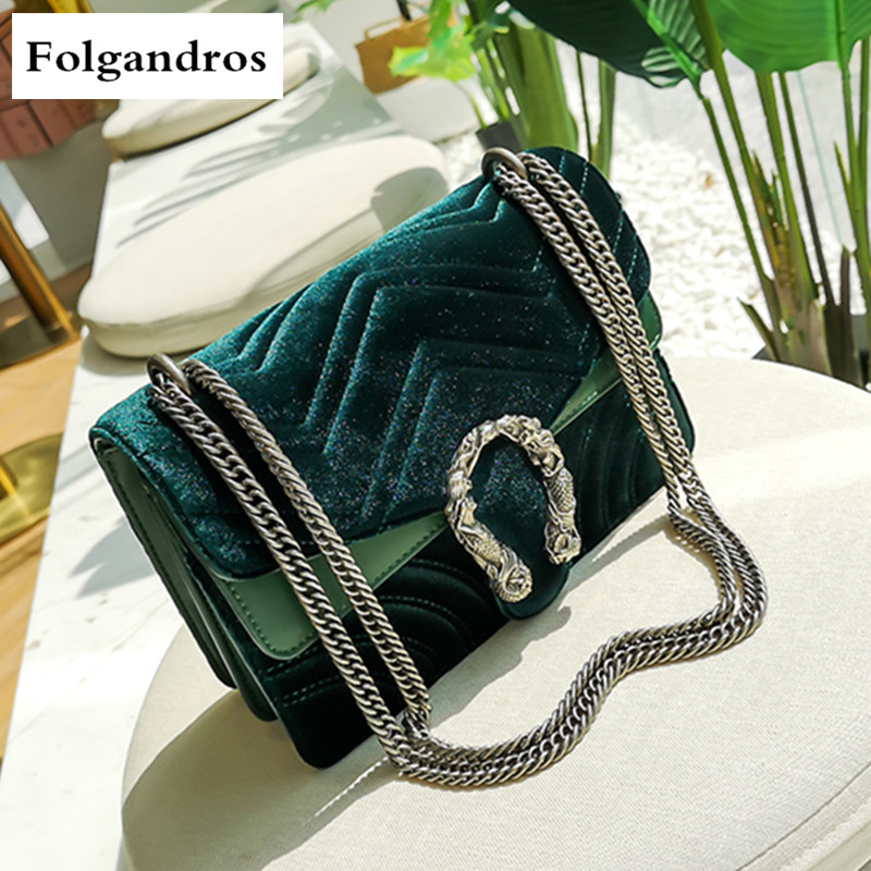 Luxury Brand Fashion Velvet Women Shoulder Bag Lady Chain Messenger Crossbody Bags Famous Designer Handbags Blue/Black/Green/Red dark green velvet twistlock closure quilted chain bag