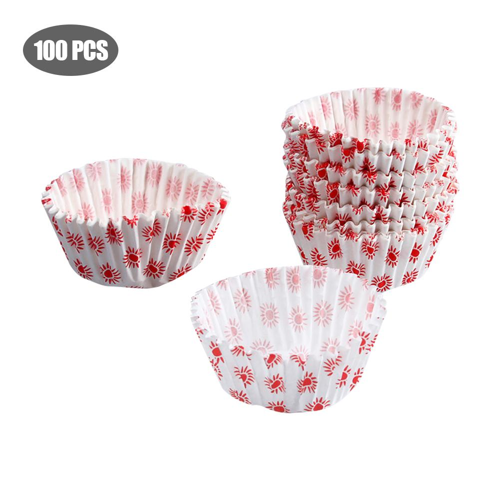 100pcs Colorful Disposable Cake Baking Paper Cup Sun Pattern Muffin Cookie DIY Bread Cup Baking Utensils Cupcake Liners