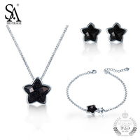 SA SILVERAGE 925 Silver Jewelry Set Girl Bracelet Necklace And Earrings Set Women Star Design Real Silver Jewelry Gift