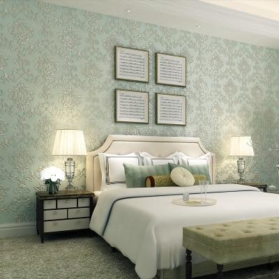 Купить с кэшбэком European Classic Pattern Wall Paper Background 3D Deep Embossed Damascus Non-woven Bedroom Living Room Wallpaper Roll