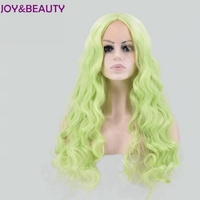 JOY&BEAUTY Light green Long Wavy Lace front Wig Synthetic Hair High Temperature Fiber 24inches For Women Wig
