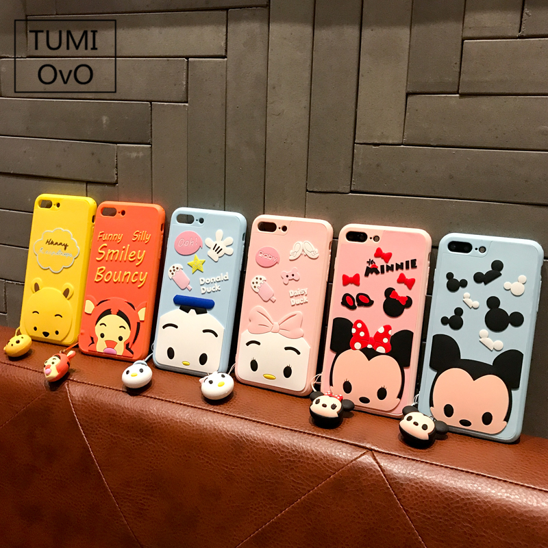 3D Pendant Tassels Doll Cartoon Case For iPhone 6 6s 7 Plus 8 Plus Soft TPU Silicon Mickey Minnie Donald Duck Daisy Cases