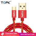 TOPK USB Type C Cable Striped Cotton Braided Wire Aluminum Casing Gold-plated Connector USB C Cable for Type-C Devices