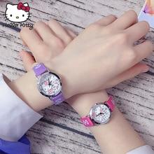 Hello Kitty Watch Women Quartz WristWatch Cartoon Cute Watches Children Crystal Fashion Waterproof PU Leather Learning Machine цена