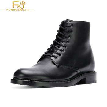 FSJ Fashion 2020 Leather ShoesLace Boots Lace Up Black Autumn Cross Tied Low Chunky Heels Ankle Booties Dress Work Woman Shoes