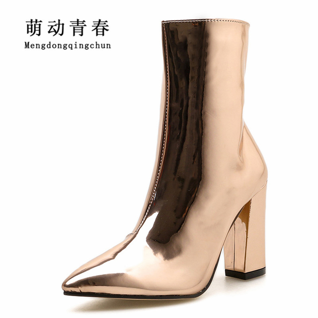 43f59db36aec3 2018 New Brand Women High Heels Boots Fashion Snake Print Pointed Toe Ankle  Boots Sexy Patent