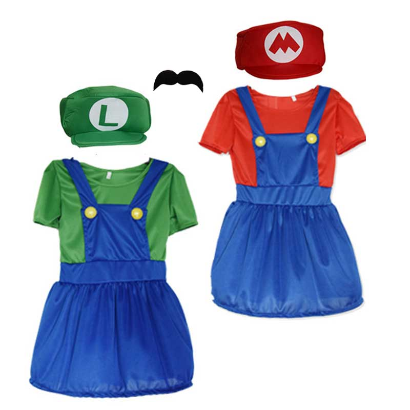 Girl's Super Mario Funny Skirt Cosplay Adult Costume for Halloween Large Kids Luigi Brother Dress Costume