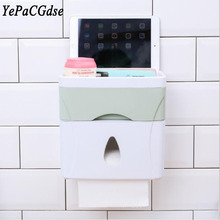 Bathroom multi-function nail-free seamless stickers three-in-one double with drawer rack tissue box
