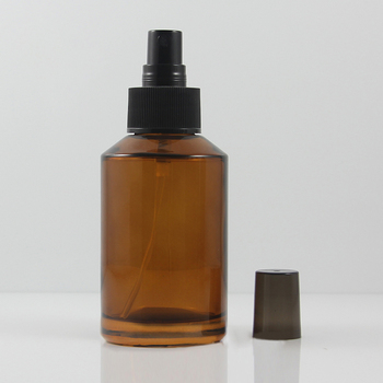 20pcs 125ml amber Glass travel refillable perfume bottle with black plastic atomizer sprayer, 125 ml glass perfume container