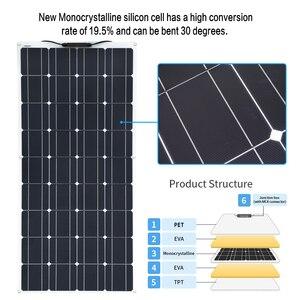 Image 3 - 2PCS 4PCS 3PCS Solar Panel 100 W Monokristalline Solarzelle Flexible für Auto/Yacht/Dampfschiff 12V 24 Volt 100 Watt Solar Batterie