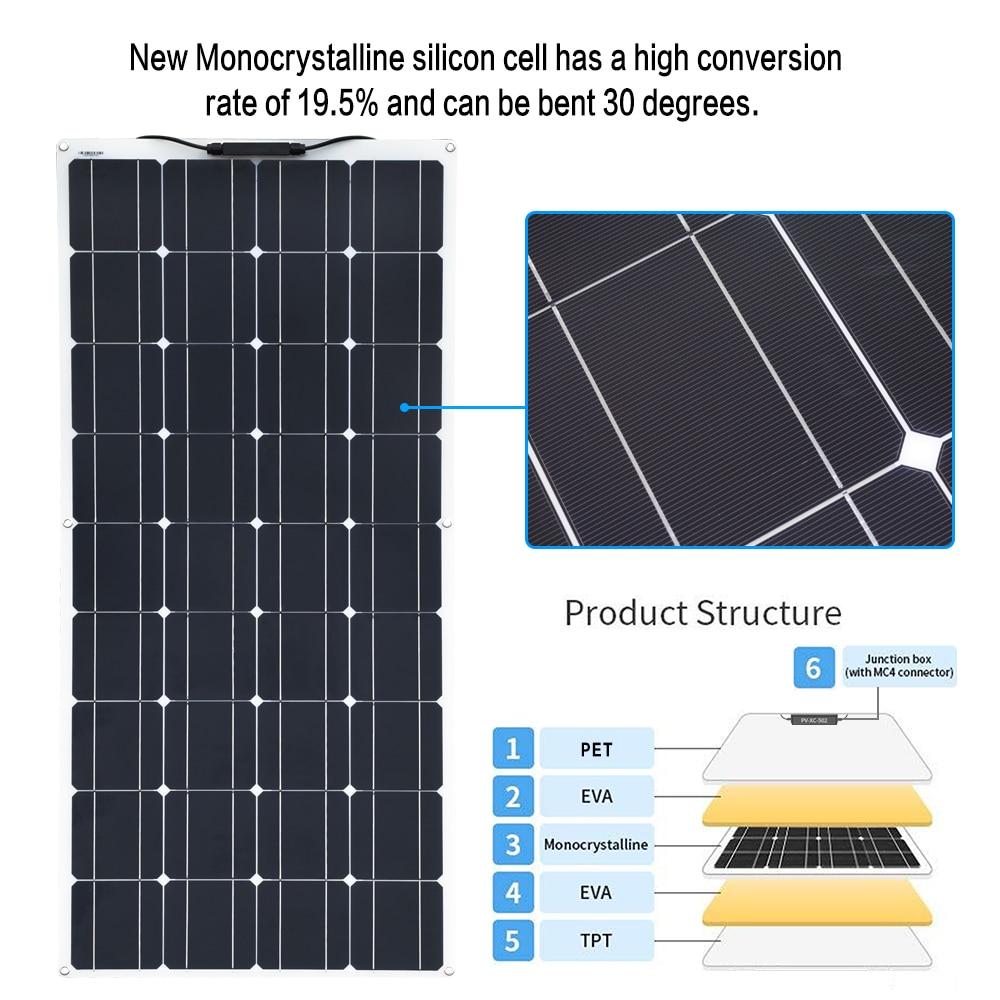 XINPUGUANG 2PCS 4PCS 1175*540mm Solar Panel 18V 100W Mono Cell Flexible Car/Yacht/Steamship 12V 24 Volt 100 Watt Solar Battery