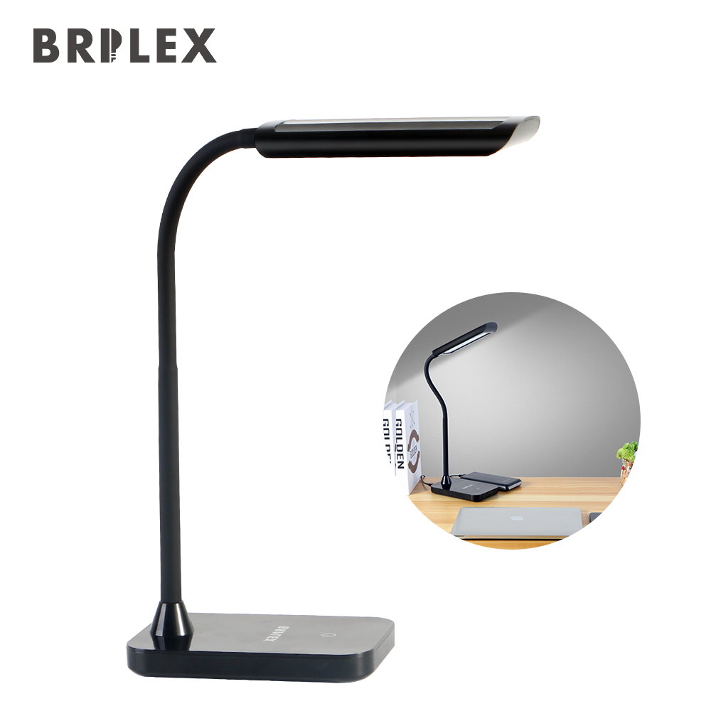 BRILEX Desk Lamp LED Table Lamp Classic Black Lamp 3 Lighting Modes Adjustable Flexible Arm Desk Lamp for Reading Studying etc.