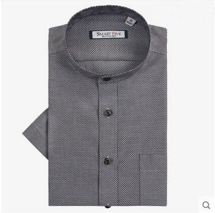 New Fashion Formal Party Dress Plaid Shirts Men Stand Collar 100% Cotton Men's cShort Sleeve Men Shirt China Size XS-5XL 6XL
