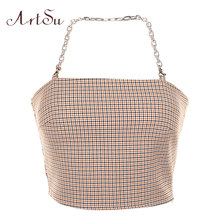 ArtSu Streetwear Vintage Plaid Kette Top Sleeveless Backless Halter Top Sommer Bralette Crop Top Off Schulter Camis ASVE20501(China)