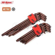 купить Hi-Spec Prefessional 9pc Tamper Torx Allen Key Metric S2 Long Medium Hex Keys Torque Wrench Spanner Set Hexagonal Key Set дешево