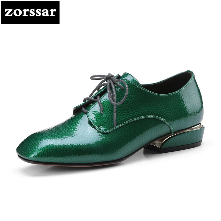 {Zorssar} 2018 NEW fashion Genuine Leather ladies shoes Square toe Lace-up High heels pumps low heel woman shoes big size 42 zorssar 2018 new fashion buckle genuine leather thick heel womens shoes heels square toe high heels pumps ladies office shoes