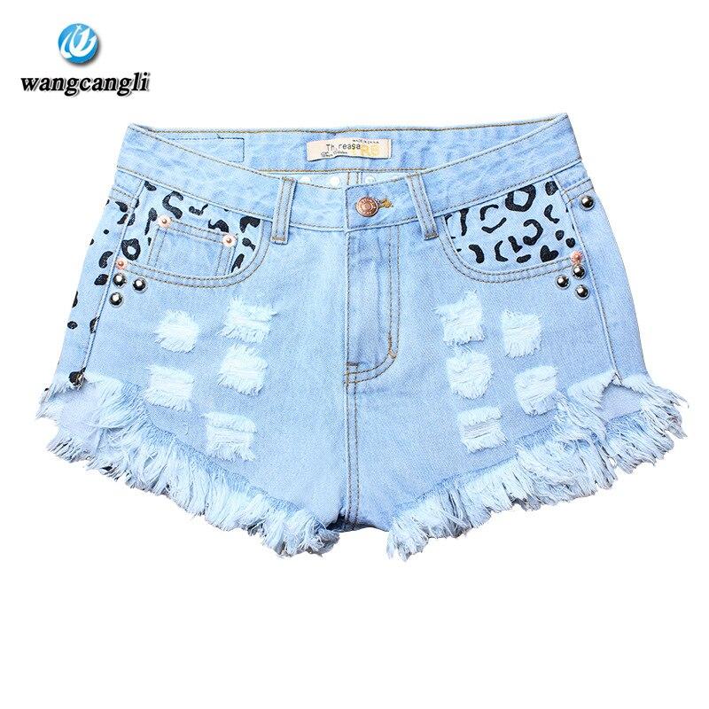 Summer 2017 Ripped High Waist Women Casual Shorts Sexy Rivet Blue Denim Shorts Vintage Jeans Girl Wide Leg Pants Hot Shorts hiba javed when perceptions change
