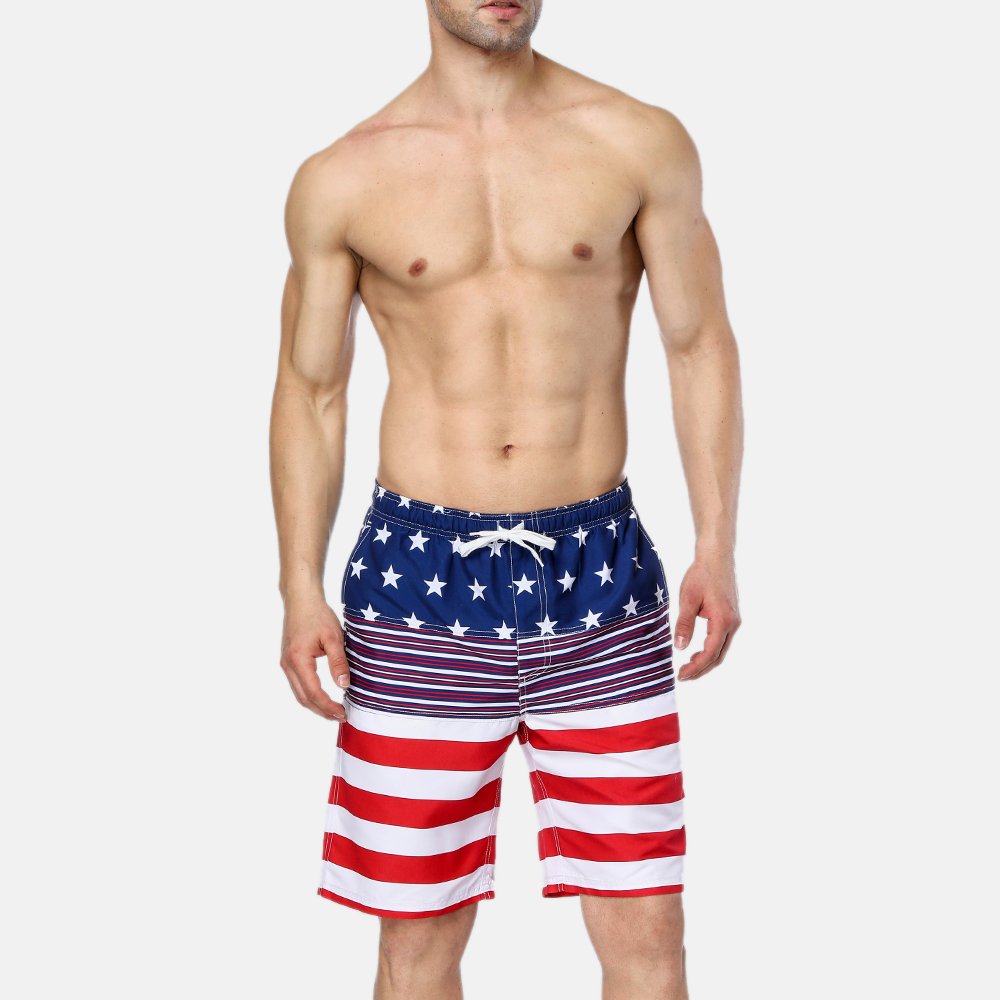 Attraco Men Swimshorts American Flag Beach Shorts Swimwear Briefs Man Swimsuits Trunks Sea Casual Short Bottoms in Men 39 s Trunks from Sports amp Entertainment