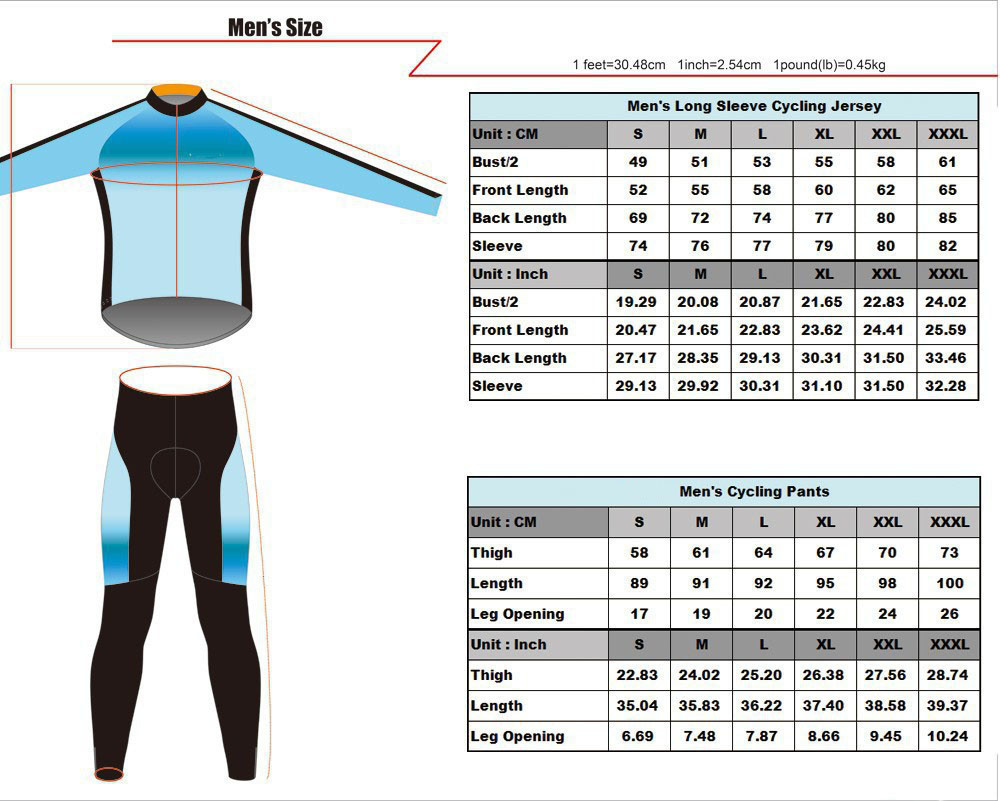 mens long sleeve cycling suits
