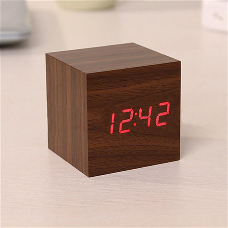 aafe8c080ec Cubo De Madeira moderna Digital LED Temporizador Termômetro Calendário de  Mesa Relógio Despertador