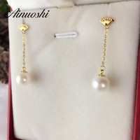 AINUOSHI 18K Yellow Gold Natural Cultured Freshwater Pearl Drop Dangle Earrings Wedding Ear Jewelry Women Engagement Earrings