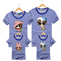 2016 Summer New Family Looks Mother Father Baby Cotton Beach Short-sleeved T-shirt Family Cartoon Stripe Matching Outfits