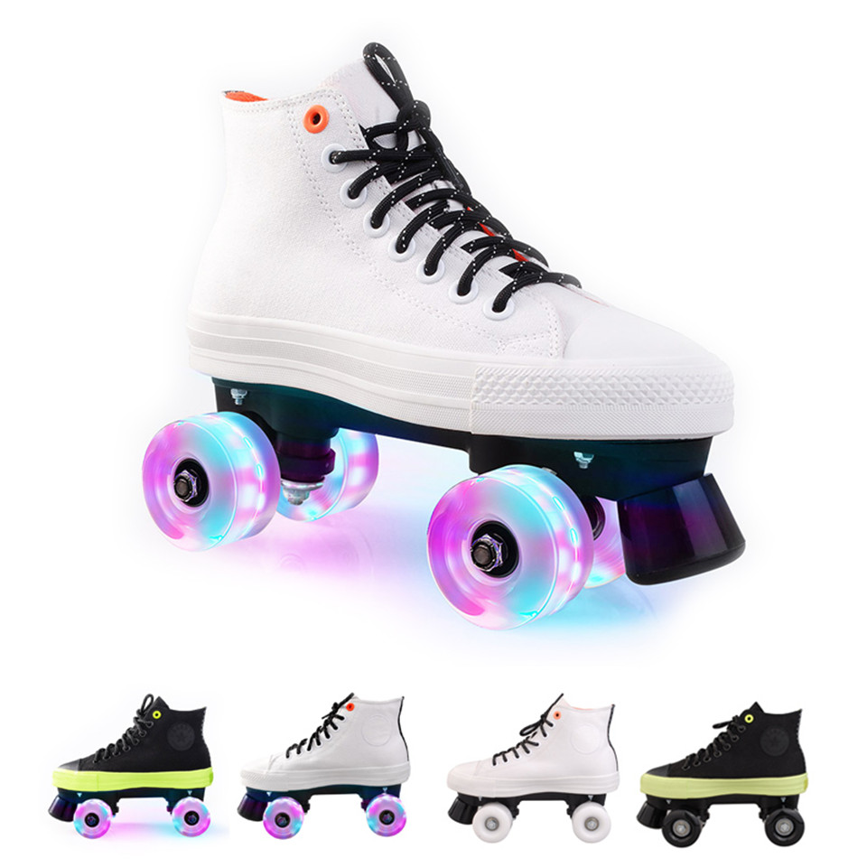 JK Quad Skates Double Row Adult Roller Skates Unisex Canvas Shoes For Lovers Two Line Flashing Wheels Patines SP5