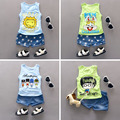 2016 Summer new children clothing 1-4 years old cotton material o-neck sleeveless vest  fashion design baby boys sets suit
