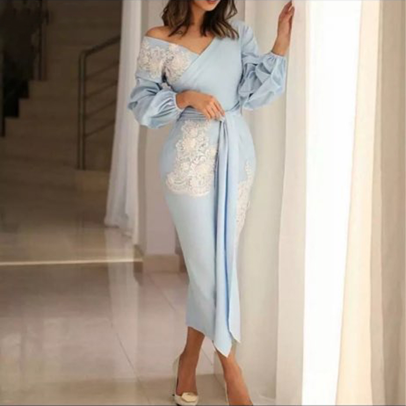 Elegant Arabic Mermaid   Prom     Dresses   Ankle Length Puffy Long Sleeves Robe de soiree Sheath Evening   Dress   with Lace Applique Cheap