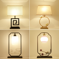 The new Chinese classical decorative lamp bed table lamp bedside lamp retro iron living room hotel lamps study light LU628 ZL433