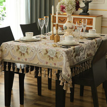 Luxury Wedding decoration table cloth jacquard with Hanging ear for home kitchen accessories ramadan
