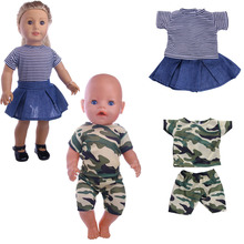 Fleta Camouflage pattern military casual wear Doll Clothes fit 18inch american  or 43cm bron baby Accessories