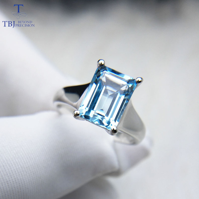 Tbj ,Simple and elegant sky blue topaz oct 7*9mm 2ct Ring in 925 sterling silver