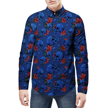 Mens long sleeve print skull Dress Shirt