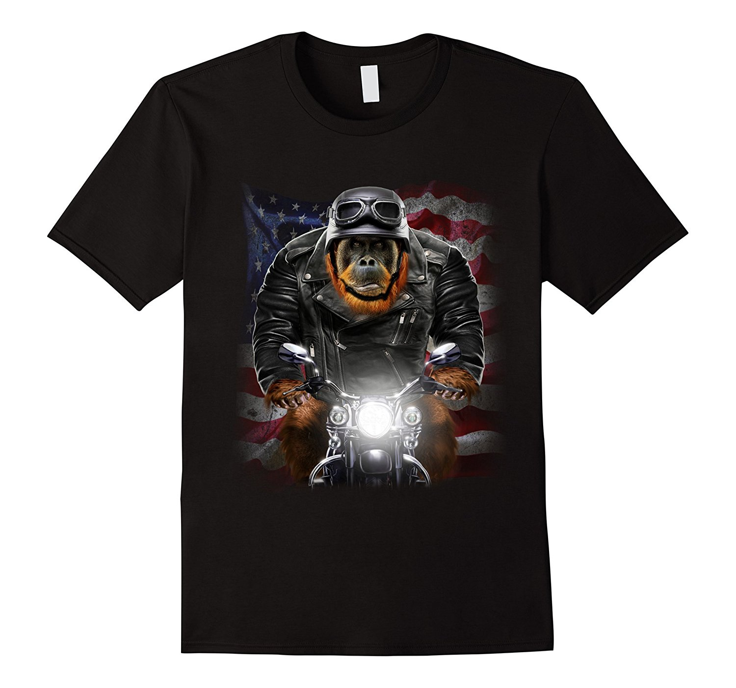 2018 Hot Sale 100% cotton USA Patriot Orangutan Biker Ape Ride Motorcycle T-Shirt Tee sh ...