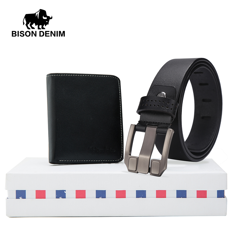 Selfless Bison Denim Vintage Mens Belt Gift Box With Cowskin Wallet Genuine Leather Male Pin Buckle Belts Purse Set Gift For Men W71018 In Many Styles Men's Belts