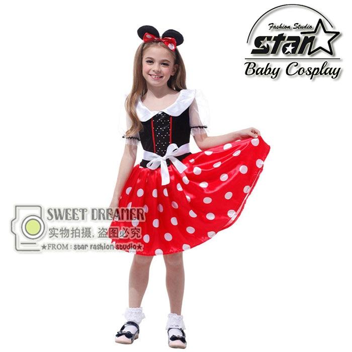 Kids Christmas Birthday Gift Minnie Mouse Party Fancy Costume Halloween Cosplay Girls Fashion Tutu Dress+Ear Headband 4-12Y