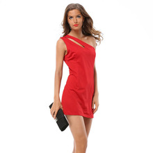 Frauen reizvolle clubwear kausalen asymmetrische aushöhlen schulter bodycon mini dress party bandage dress vestidos wdc311