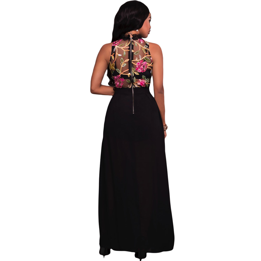 1bfc4ccd2211 Sexy Women Long Jumpsuit Sheer Mesh Floral Embroidery Sleeveless Maxi Skirt  Short Chiffon Overall Romper Elegant Casual Playsuit-in Rompers from  Women s ...